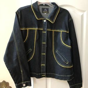 Jackets & Blazers - Denim Jean Jacket with Yellow Lining